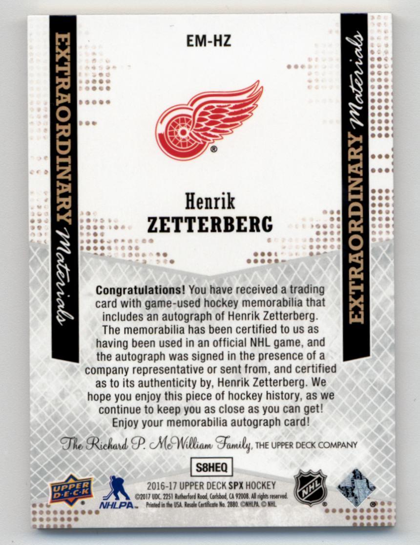 2016-17 SPx Extraordinary Material Autographs Black #EMHZ Henrik Zetterberg/25 back image