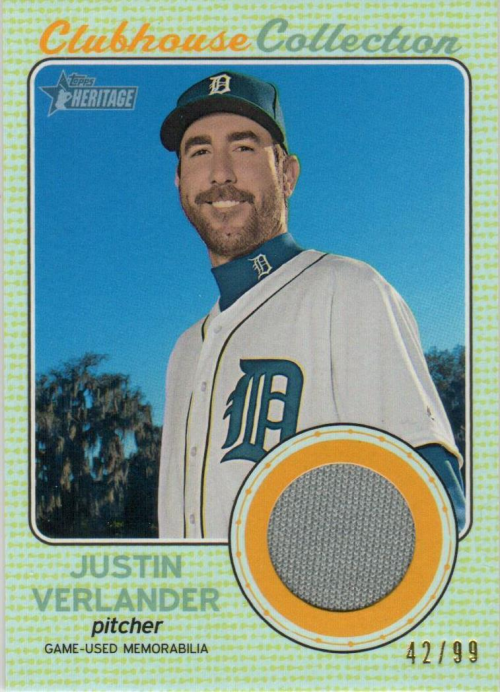 2017 Topps Heritage Clubhouse Collection Relics Gold #CCRJV Justin Verlander