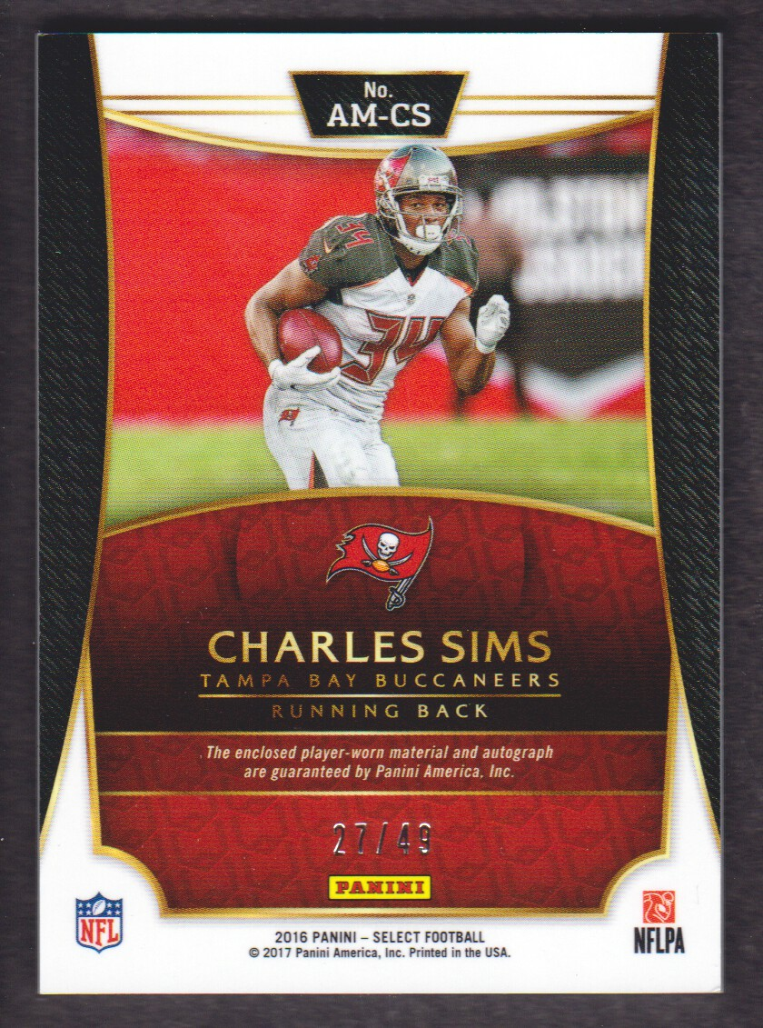 2016 Select Autograph Materials Prizm #23 Charles Sims/49 back image
