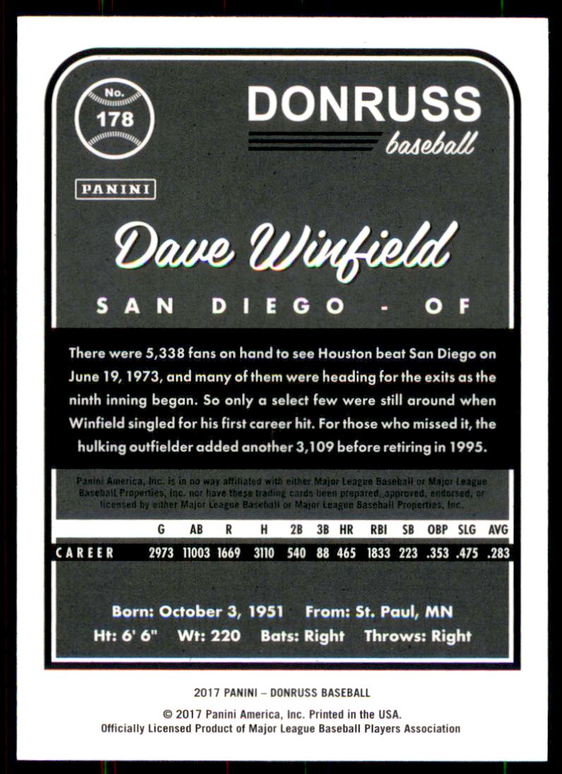 2017 Donruss Stat Line Season #178 Dave Winfield/118 back image