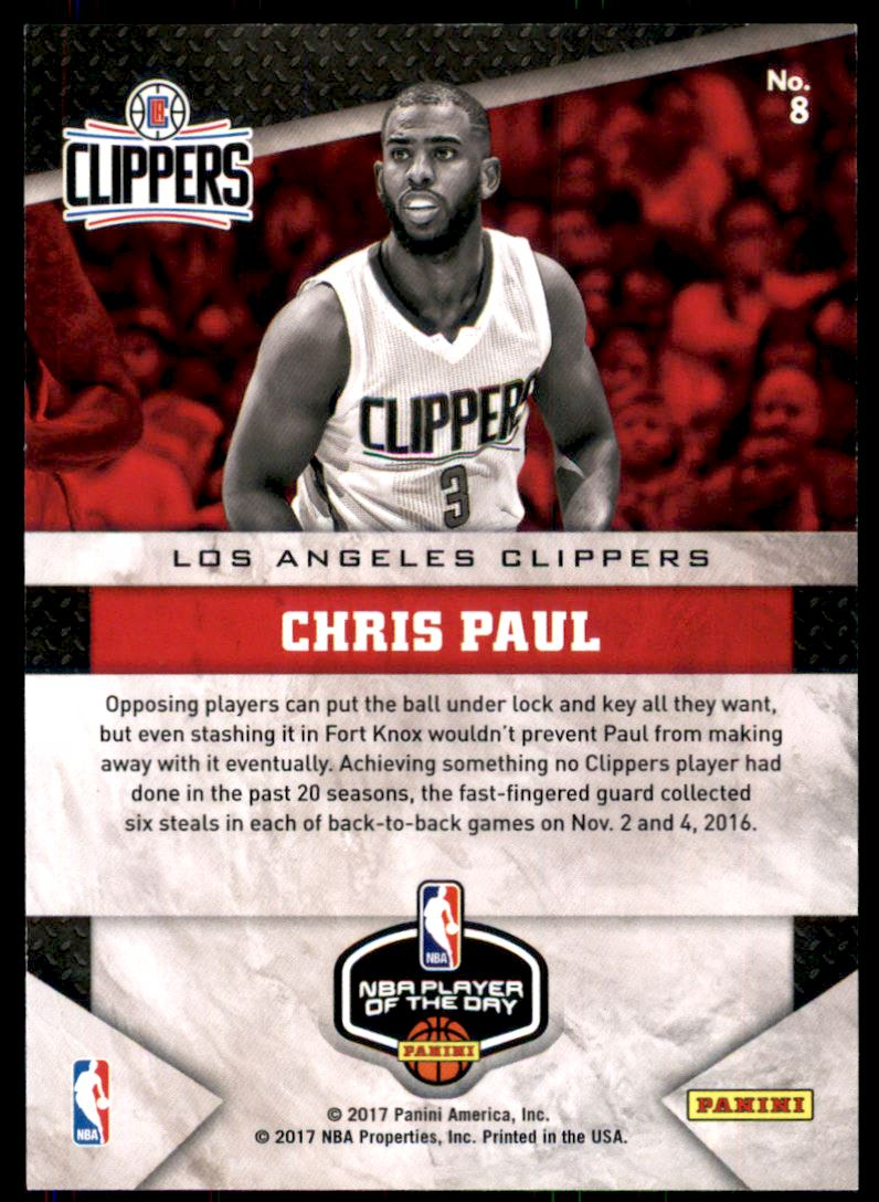 2017 Panini Player of the Day Escher Square Prizms #8 Chris Paul/150 back image