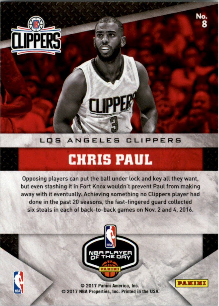 2017 Panini Player of the Day Wind Chime Prizms #8 Chris Paul/75 back image