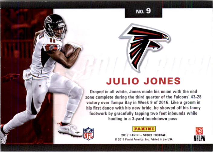 low priced 93d42 0b1ef Details about 2017 Score Color Rush Atlanta Falcons Football Card #9 Julio  Jones