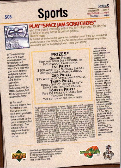 1996-97 Upper Deck Space Jam Scratchers #SC5 Michael Jordan/Loud Cheer back image