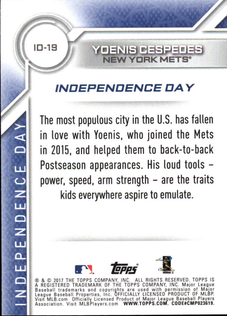 2017 Topps Independence Day #ID19 Yoenis Cespedes back image