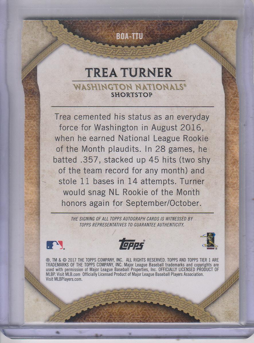 2017 Topps Tier One Break Out Autographs #BOATTU Trea Turner/200 back image