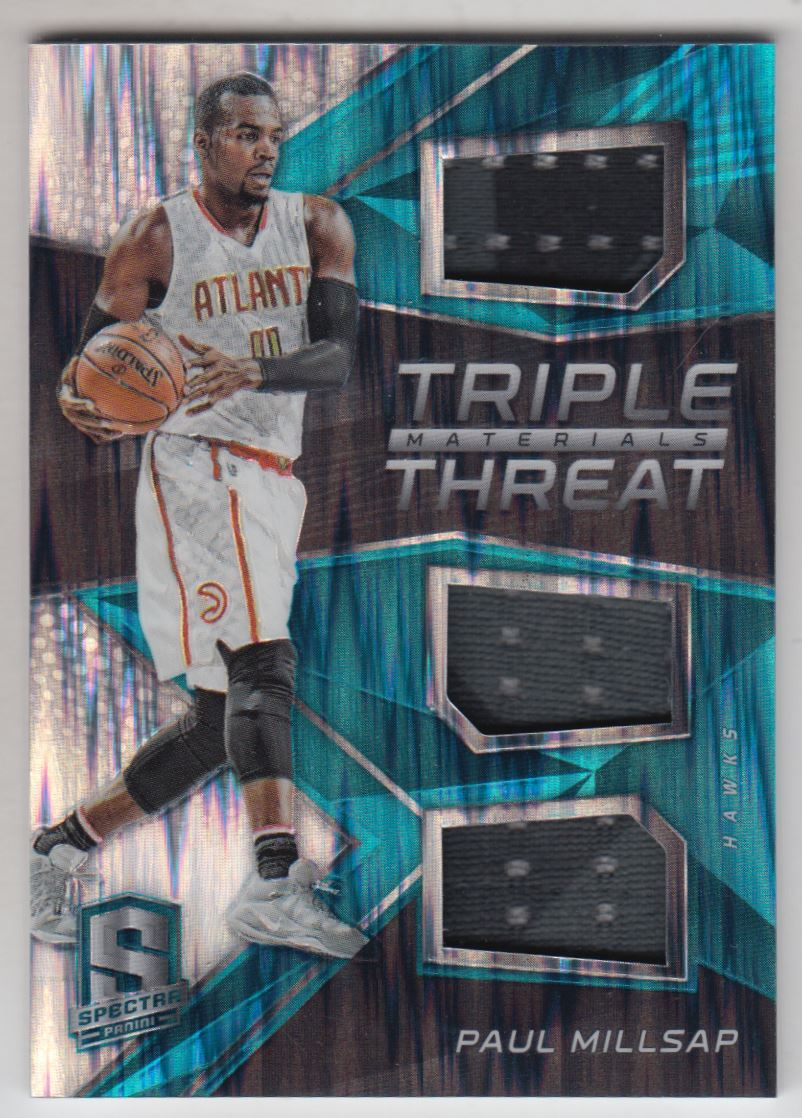 55e5688ec582 2016-17 Panini Spectra Triple Threat Materials Neon Blue Paul Millsap Jersey   99
