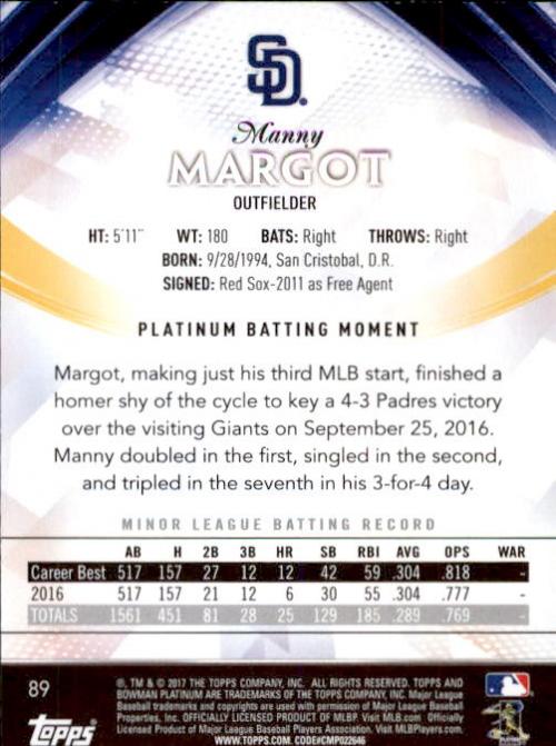 2017 Bowman Platinum #89 Manny Margot RC back image