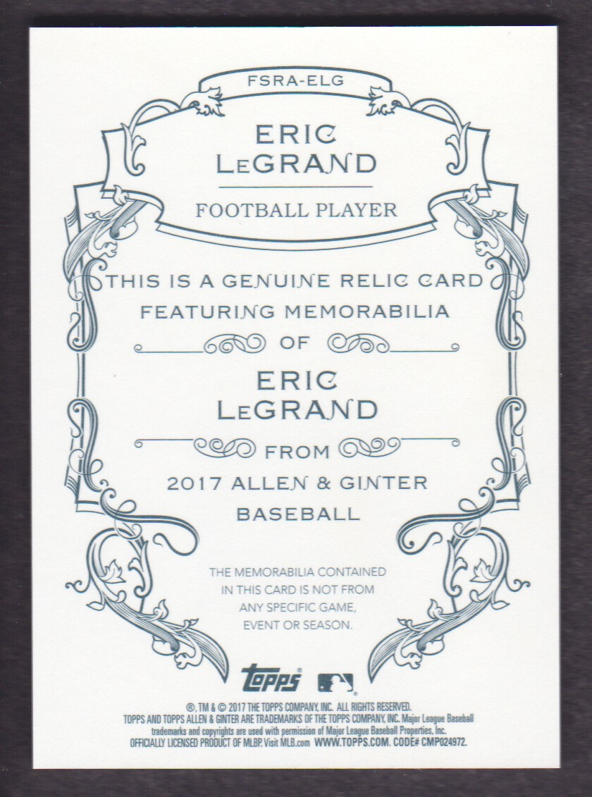 2017 Topps Allen and Ginter Relics #FSRAELG Eric LeGrand A back image