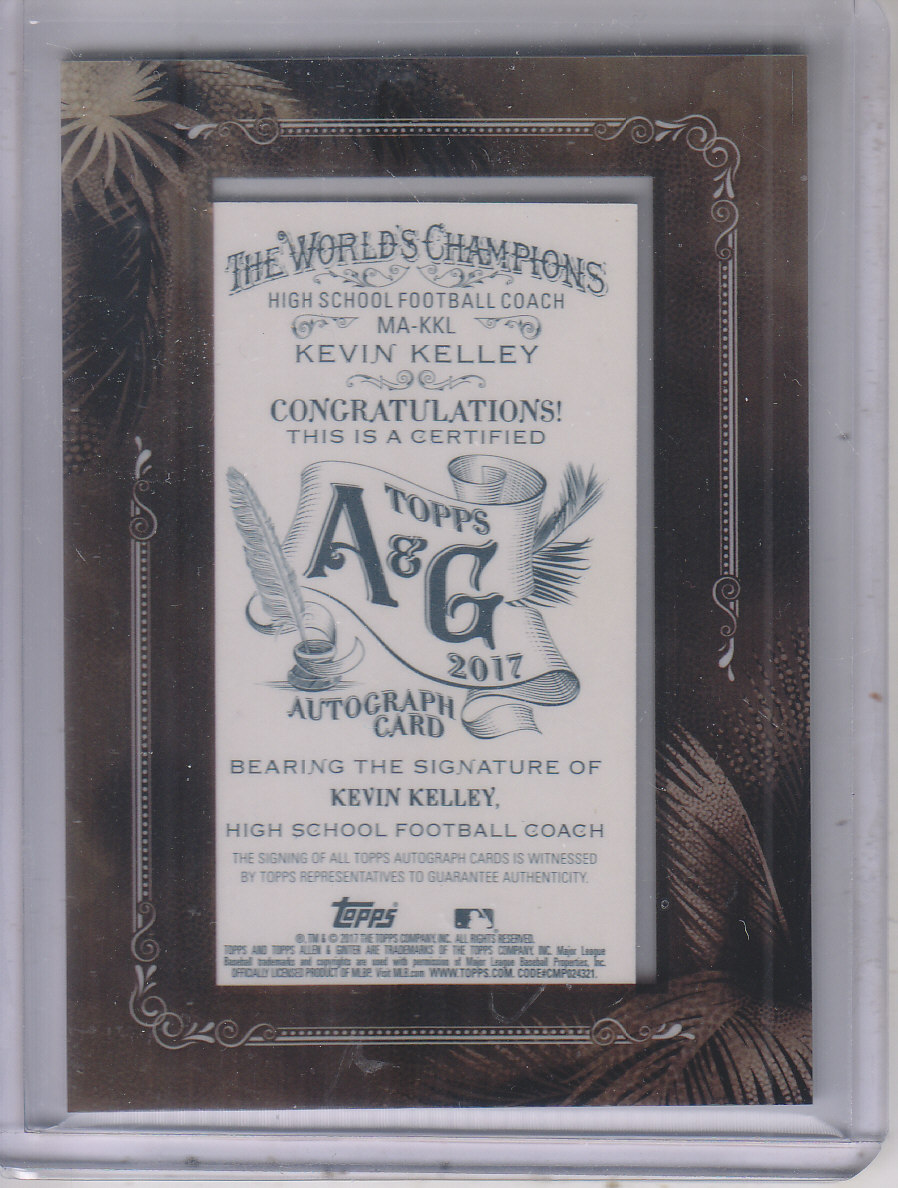 2017 Topps Allen and Ginter Framed Mini Autographs #MAKKL Kevin Kelley CO back image