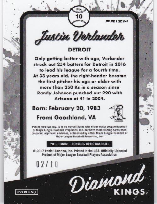 2017 Donruss Optic Gold #10 Justin Verlander DK back image