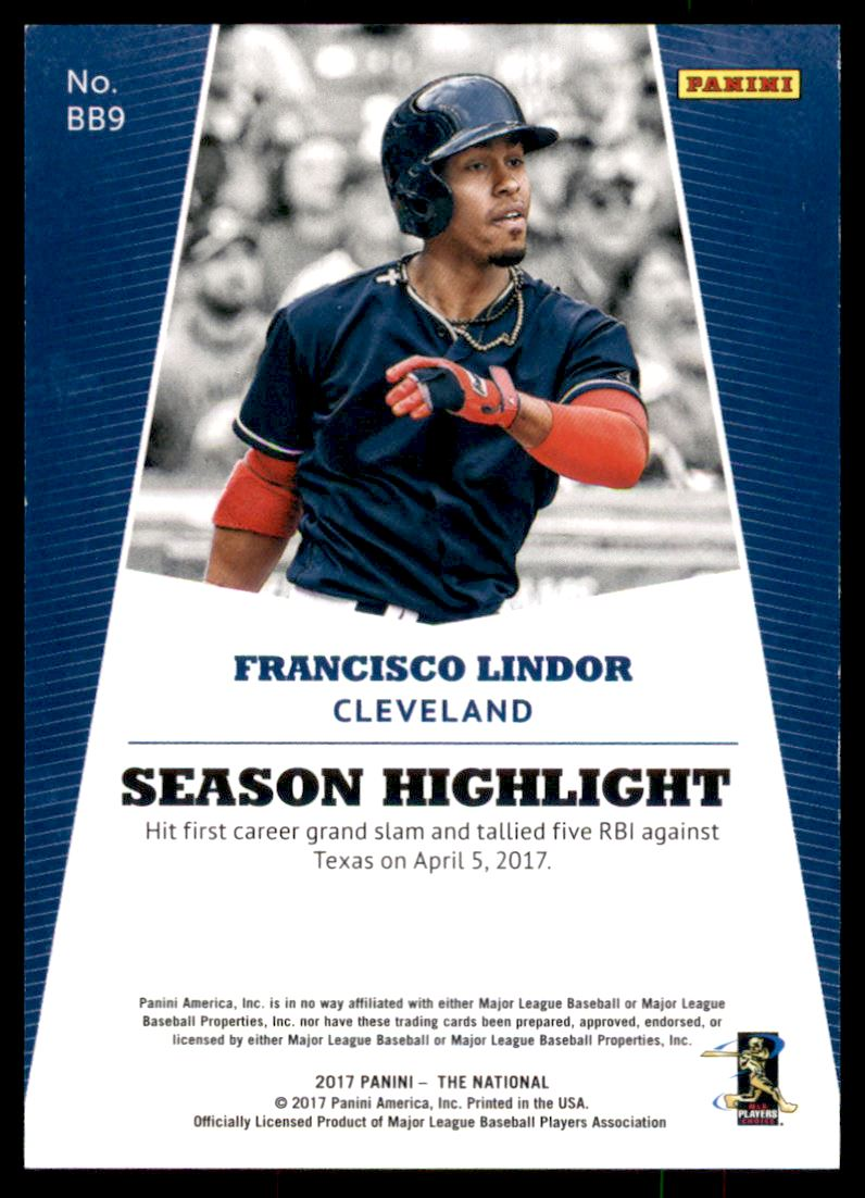 2017 Panini National Convention Rainbow Spokes #BB9 Francisco Lindor back image