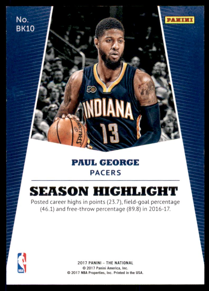 2017 Panini National Convention Rainbow Spokes #BK10 Paul George back image