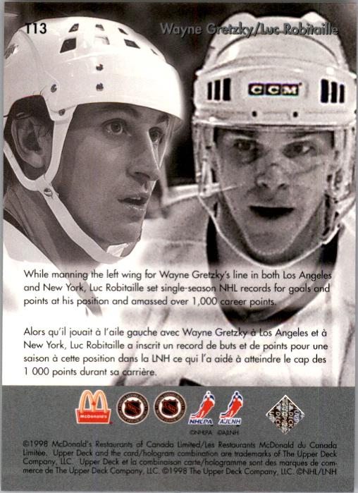 Wayne Gretzky Hockey Card 1998 McDonald/'s Upper Deck Gretzky Collector/'s Card 1998 Hockey Card Large Hologram Hockey Card