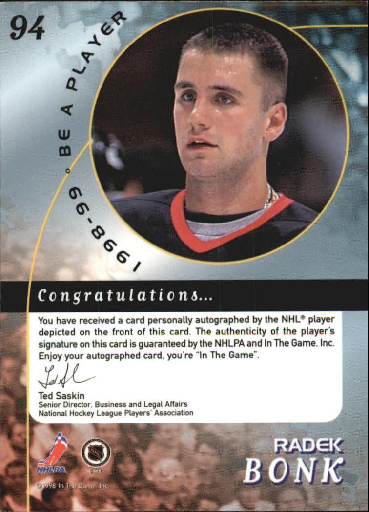 1998 99 SENATORS Be A Player Autographs 94 Radek Bonk