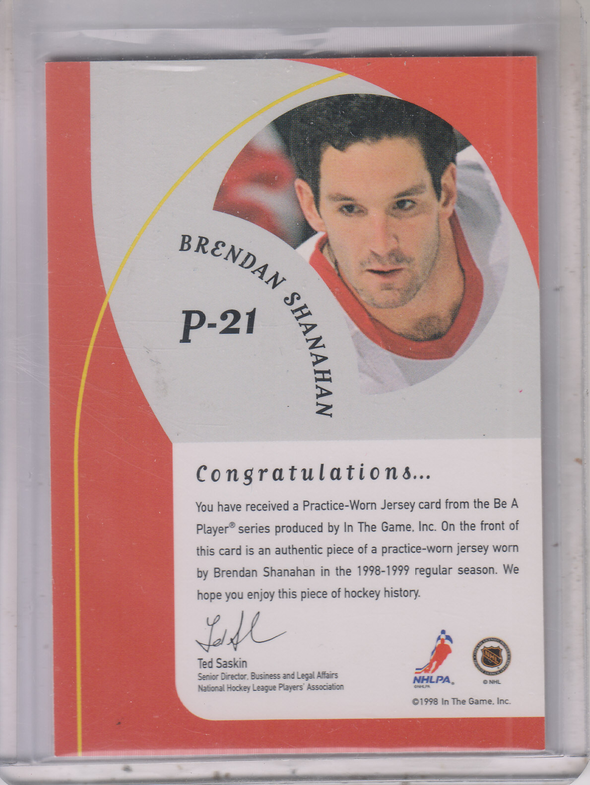 1998-99 Be A Player Playoff Practice Used Jerseys #P21 Brendan Shanahan back image