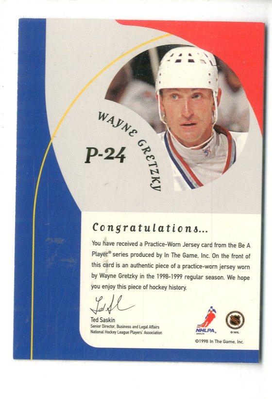 1998-99 Be A Player Playoff Practice Used Jerseys #P24 Wayne Gretzky back image