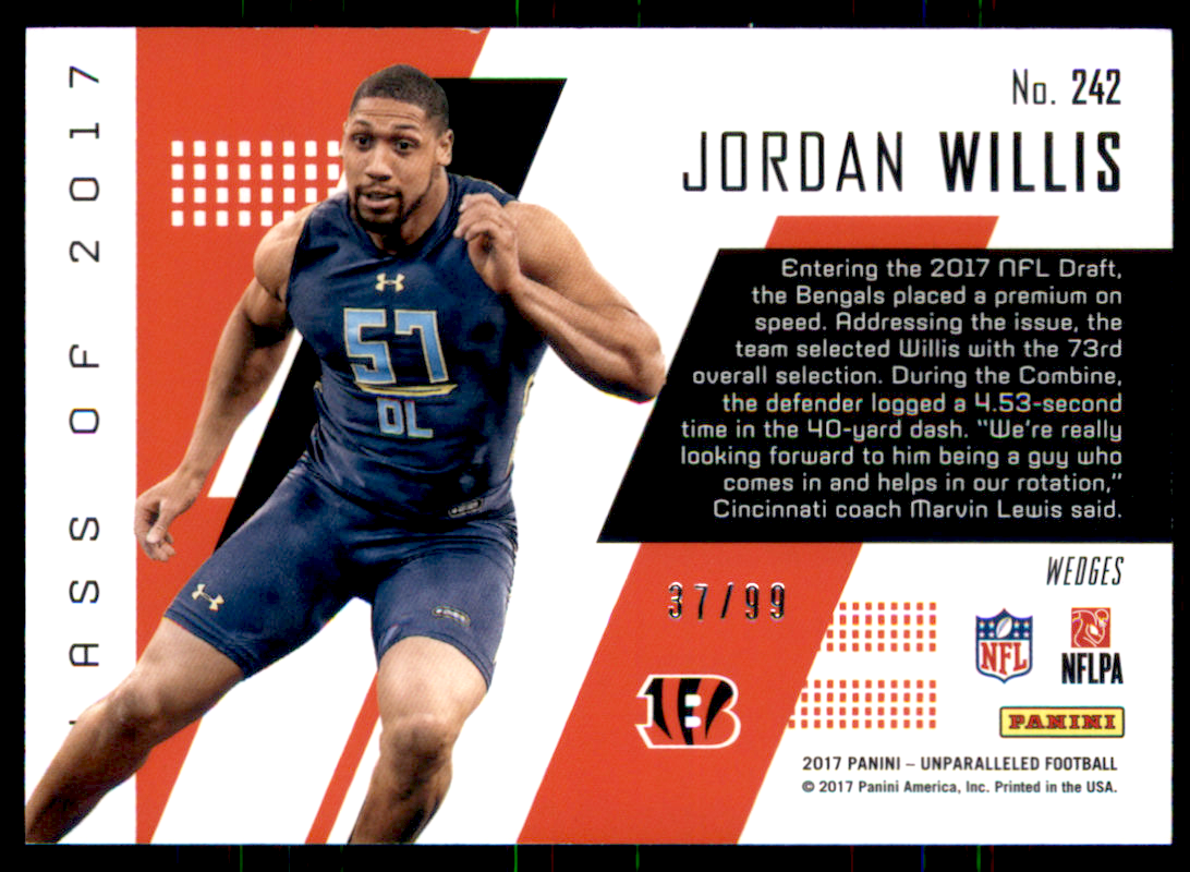 85f086b9aa6b 2017 Panini Unparalleled Orange  242 Jordan Willis  99