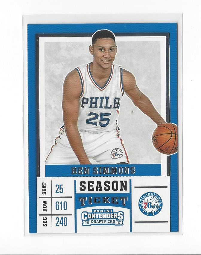 wholesale dealer 82567 610e8 Details about 2017-18 Panini Contenders Draft Picks #3B Ben Simmons (white  jersey) 76ers