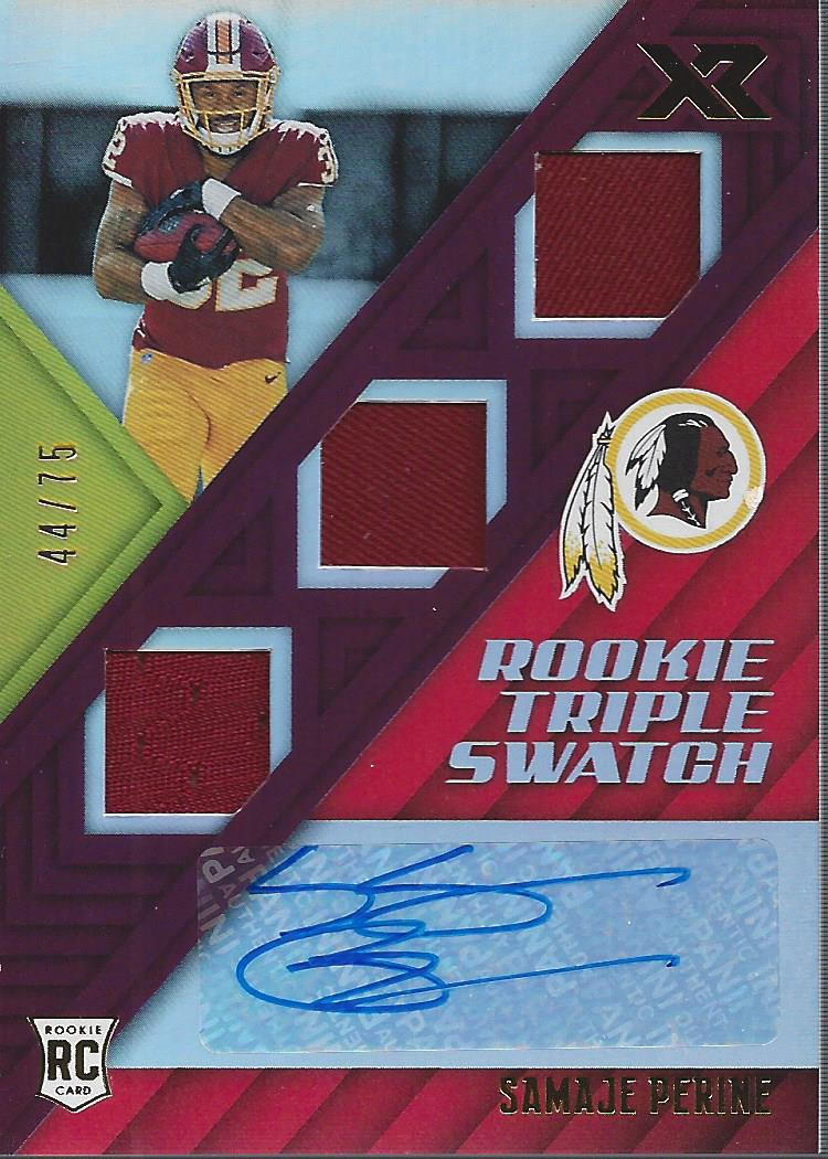 timeless design d9154 3f940 Details about 2017 Panini XR Red #174 Samaje Perine Auto Jersey /75 - NM-MT