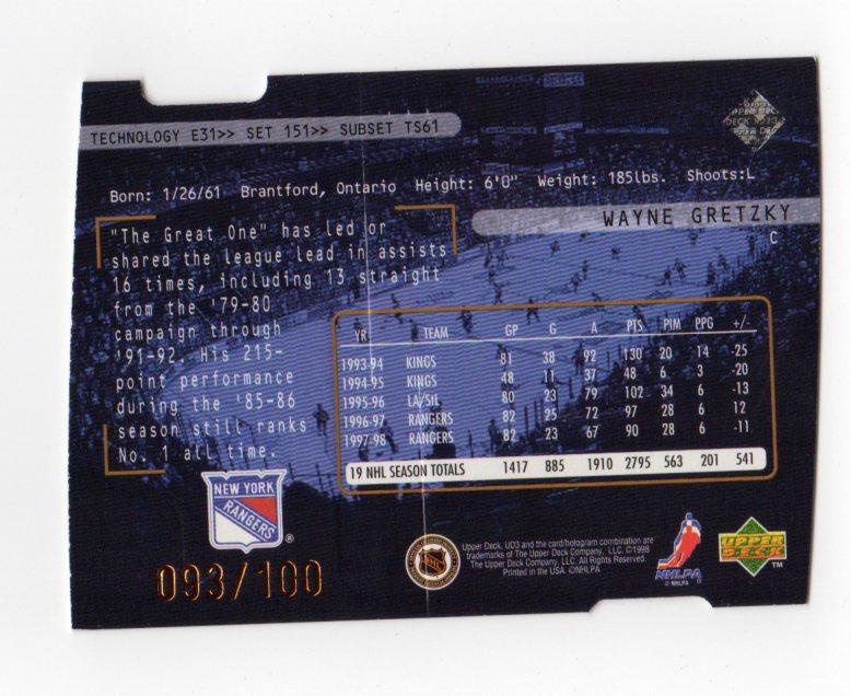 1998-99 UD3 Die-Cuts #151 Wayne Gretzky TSS/100 back image