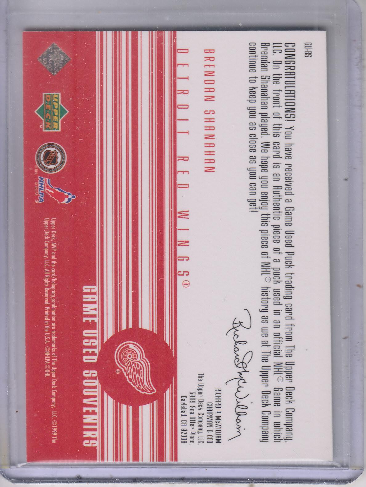 1998-99 Upper Deck MVP Game Souvenirs #BS Brendan Shanahan back image