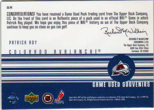 1998-99 Upper Deck MVP Game Souvenirs #PR Patrick Roy back image