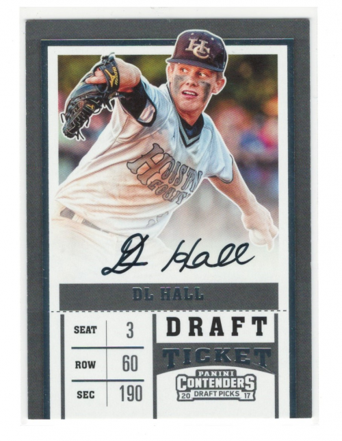 2017 Panini Contenders Draft Picks #33A DL Hall AU/Glove up