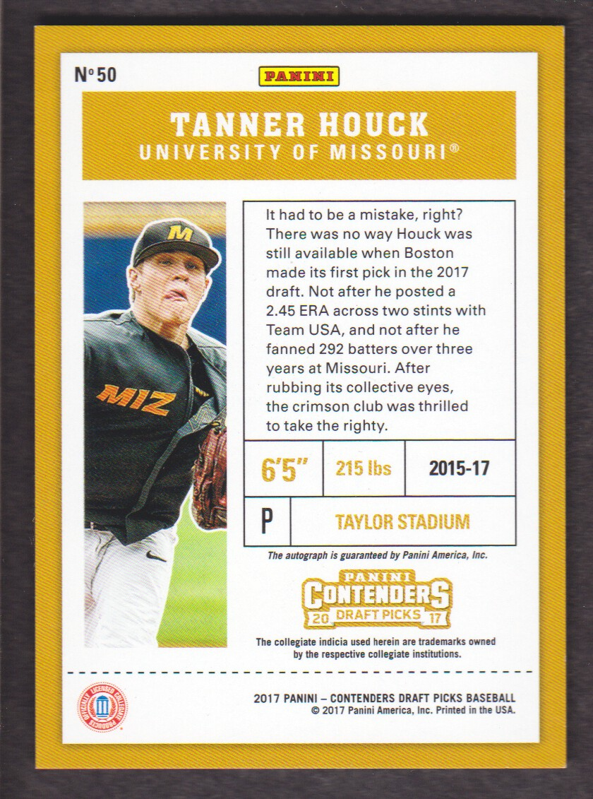 2017 Panini Contenders Draft Picks Draft Ticket #50 Tanner Houck AU back image