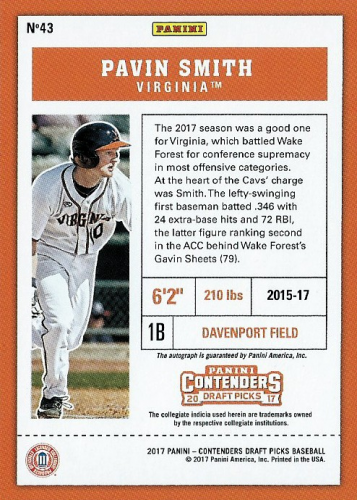 2017 Panini Contenders Draft Picks Cracked Ice Ticket #43A Pavin Smith AU/Facing left back image