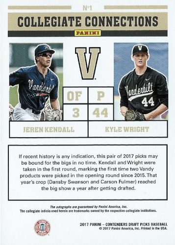 2017 Panini Contenders Draft Picks Collegiate Connections Dual Signatures #1 Jeren Kendall/Kyle Wright back image