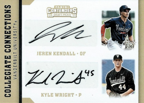 2017 Panini Contenders Draft Picks Collegiate Connections Dual Signatures #1 Jeren Kendall/Kyle Wright