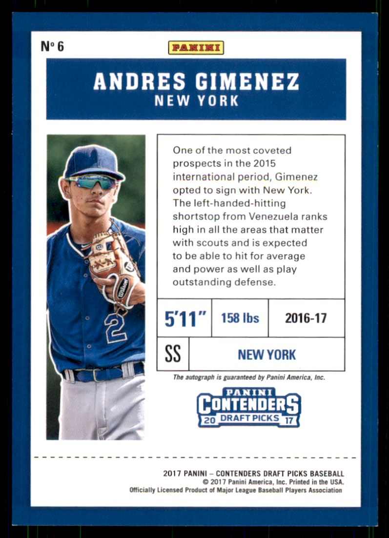 2017 Panini Contenders Draft Picks Prospect Ticket Autographs Draft #6 Andres Gimenez/99 back image