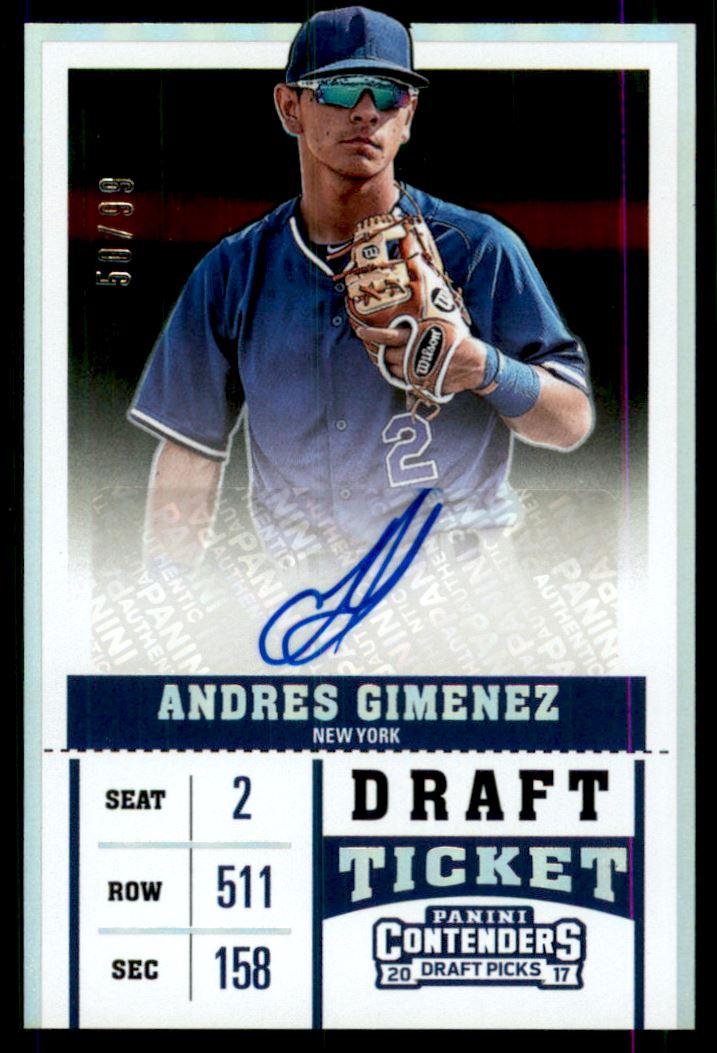 2017 Panini Contenders Draft Picks Prospect Ticket Autographs Draft #6 Andres Gimenez/99