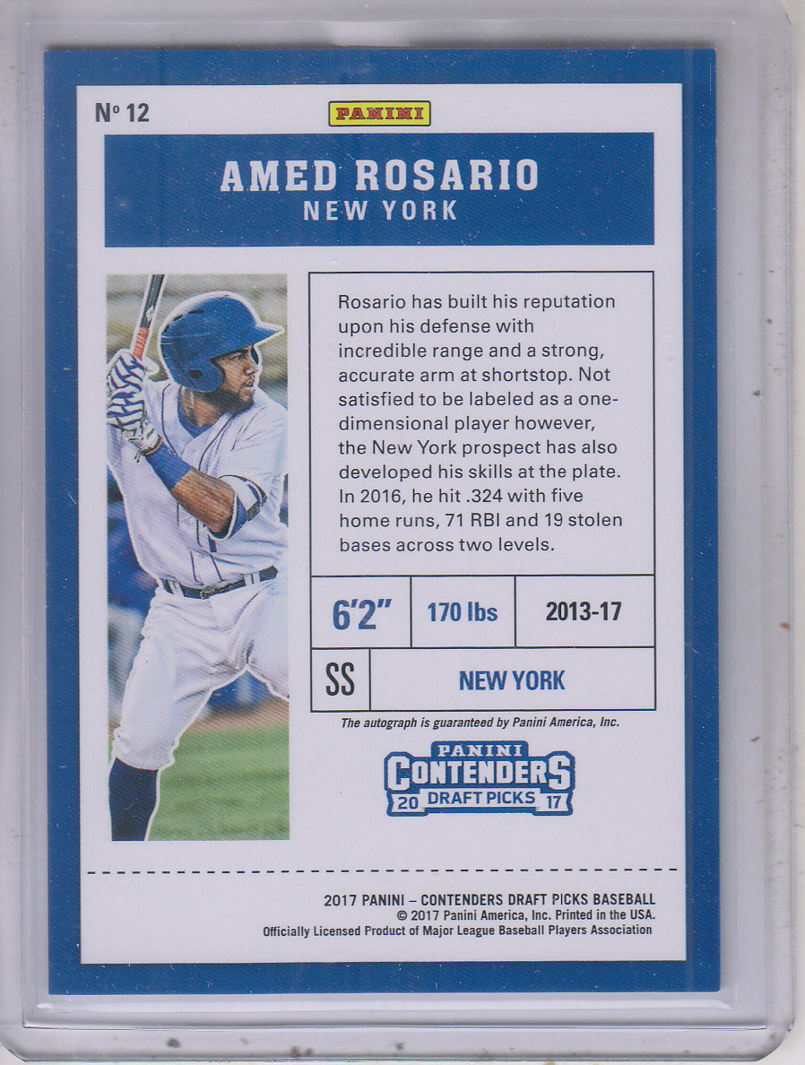 2017 Panini Contenders Draft Picks Prospect Ticket Autographs Draft #12 Amed Rosario/99 back image