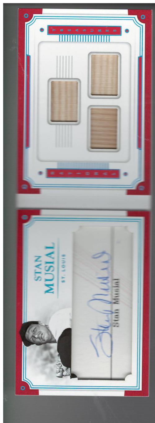 2017 Panini National Treasures Legends Cuts Booklet Triple Materials #28 Stan Musial/15