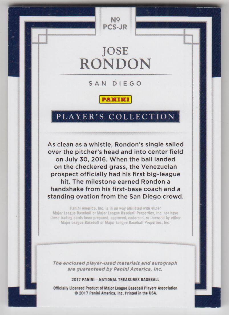 2017 Panini National Treasures Player's Collection Signatures #69 Jose Rondon/99 back image