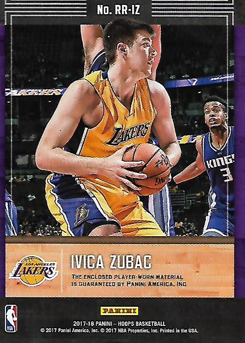 888119adaab 2017-18 Hoops Rookie Remembrance Memorabilia #30 Ivica Zubac Jersey - NM-MT
