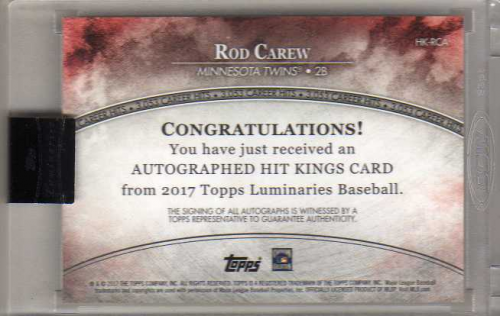 2017 Topps Luminaries Hit Kings Autographs #HKRCA Rod Carew back image