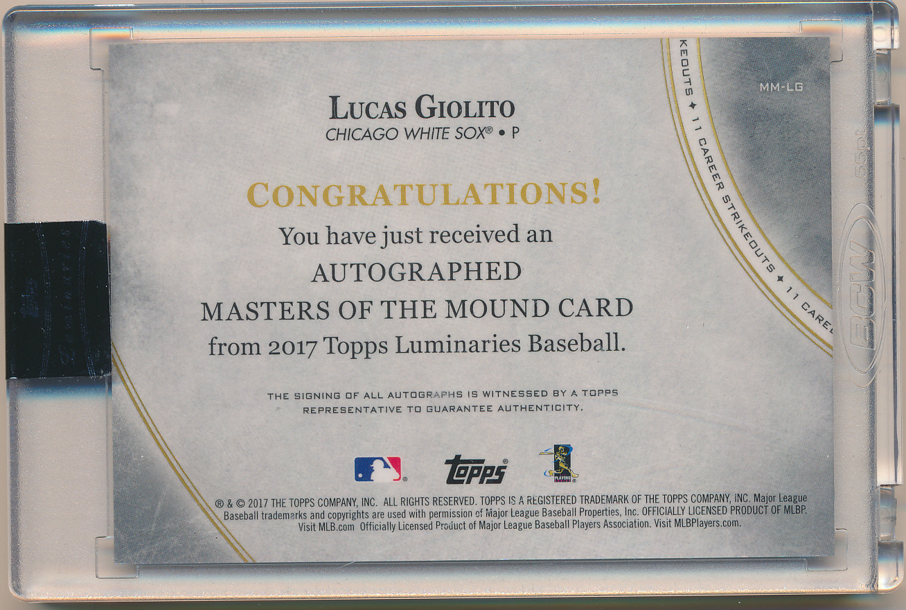 2017 Topps Luminaries Masters of the Mound Autographs #MMLG Lucas Giolito back image