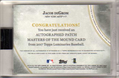 2017 Topps Luminaries Masters of the Mound Patch Autographs #MMPJD Jacob deGrom back image