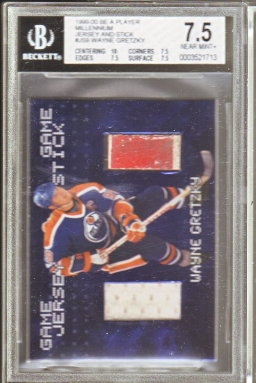 1999-00 BAP Millennium Jersey and Stick #JS9 Wayne Gretzky