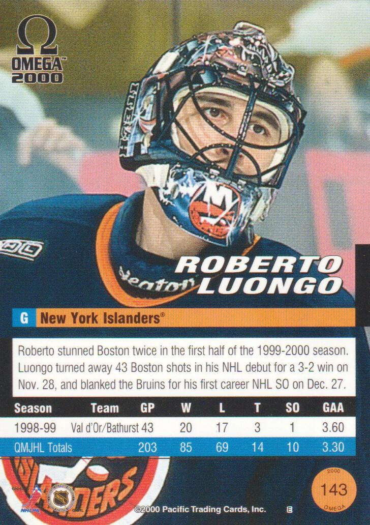 1999-00 Pacific Omega #143 Roberto Luongo back image
