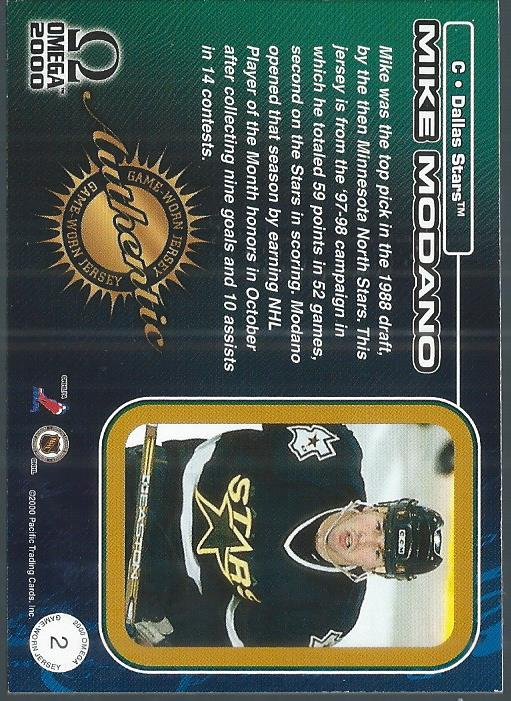 1999-00 Pacific Omega Game-Used Jerseys #2 Mike Modano back image