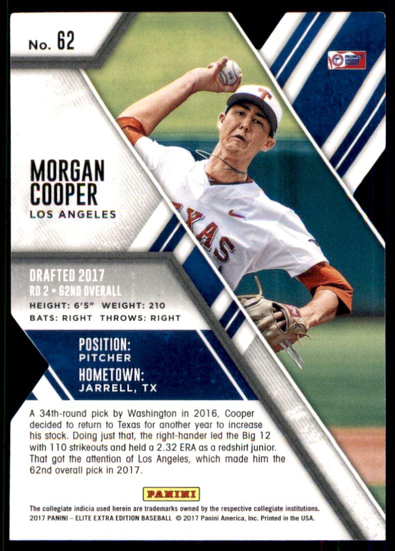 2017 Elite Extra Edition Status Die Cut Emerald #62 Morgan Cooper back image
