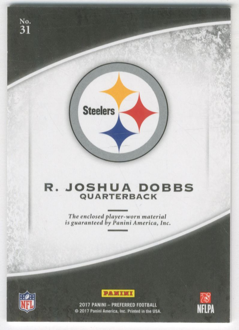 762c4cae1 2017 Crown Royale Jumbo Rookie Silhouette Jerseys  31 R. Joshua Dobbs.  Front. Back
