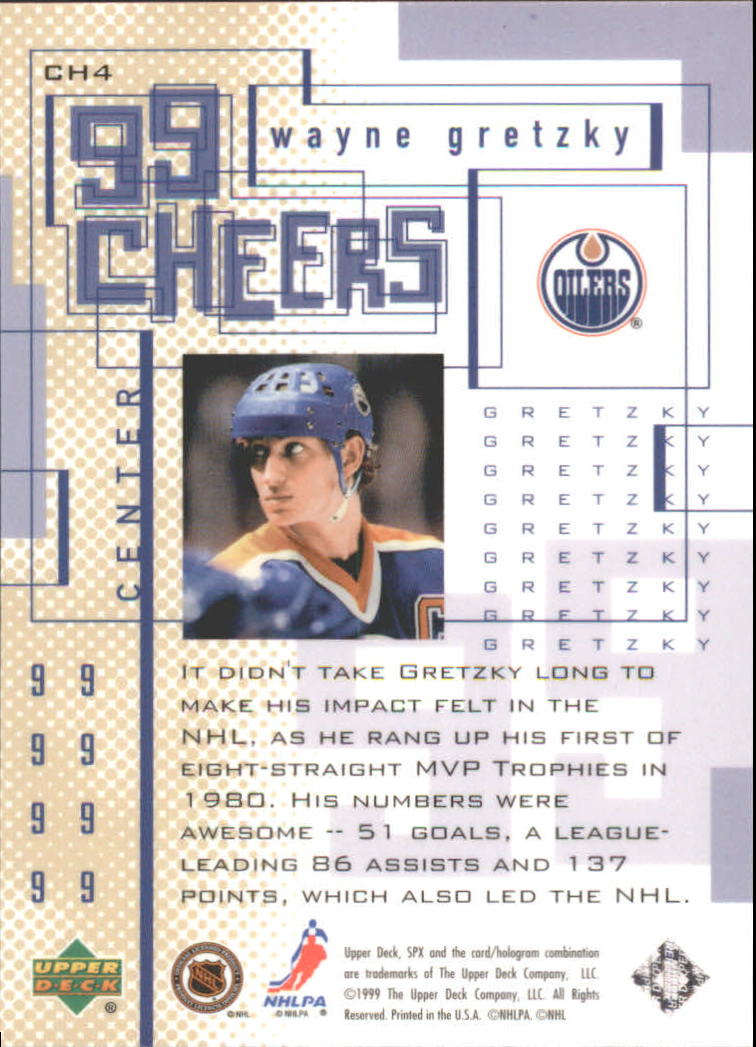 1999-00 SPx 99 Cheers #CH4 Wayne Gretzky back image