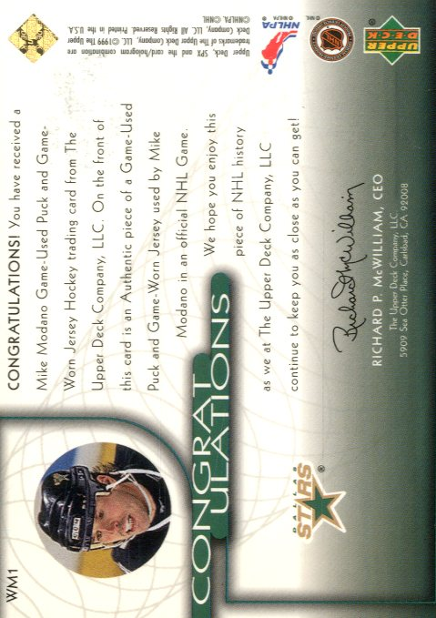 1999-00 SPx Winning Materials #WM1 Mike Modano back image