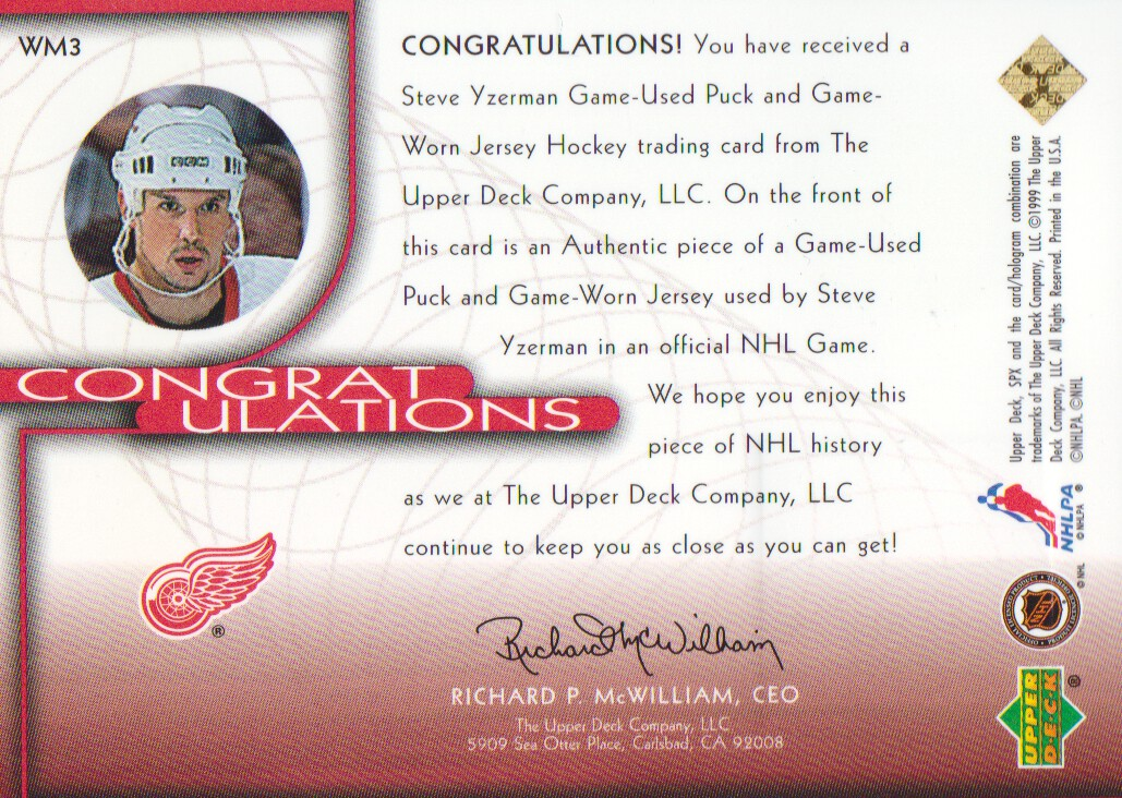 1999-00 SPx Winning Materials #WM3 Steve Yzerman back image