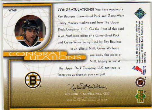 1999-00 SPx Winning Materials #WM8 Ray Bourque back image